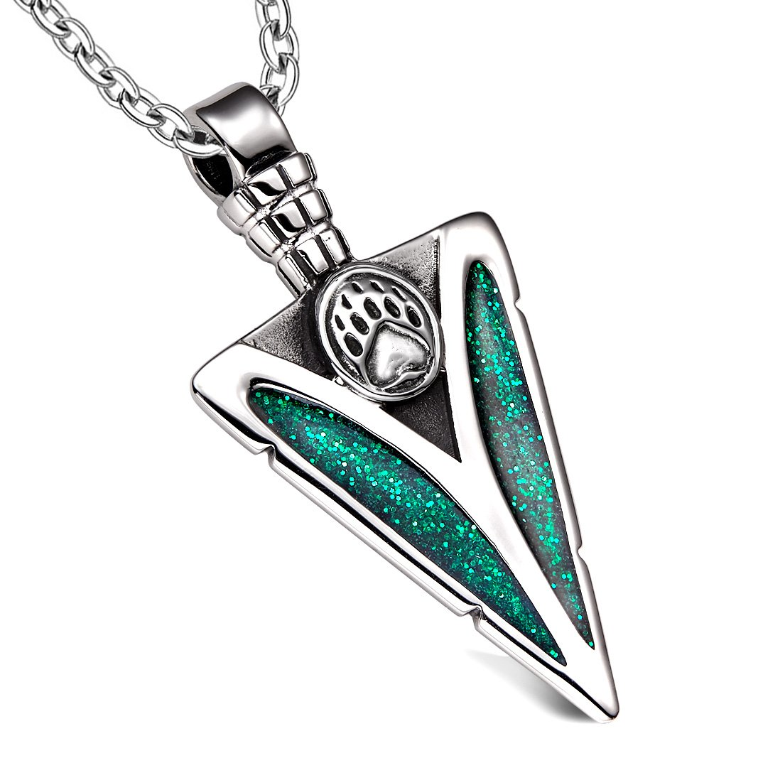 Arrowhead Grizzly Bear Paw Brave Power Protection Amulet Sparkling Royal Green Pendant 18 Inch Necklace