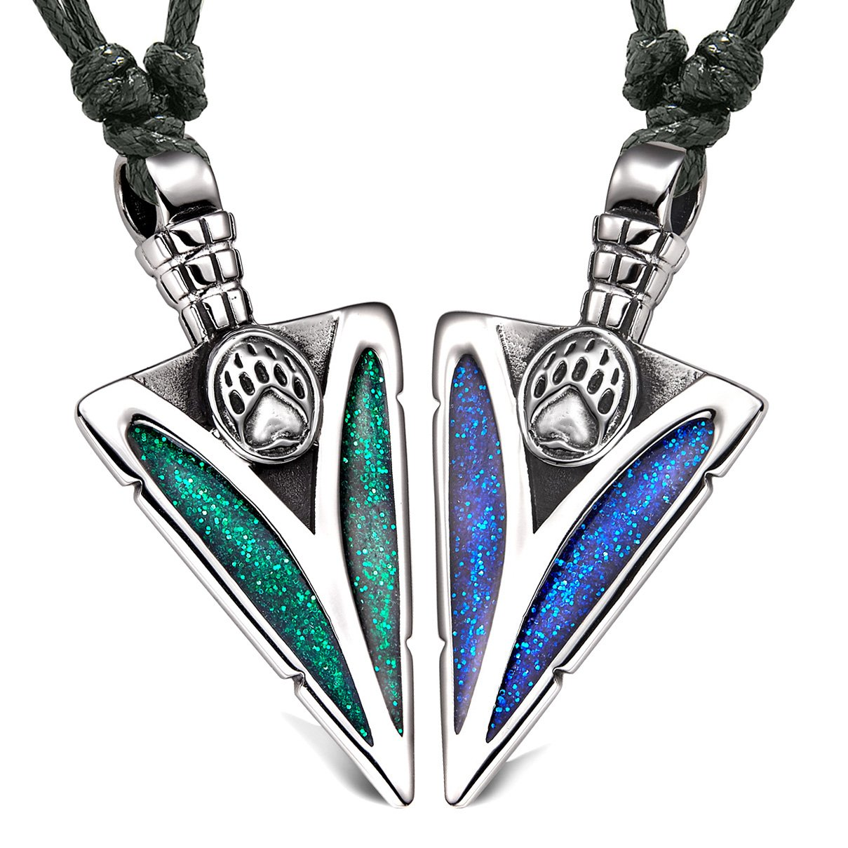 Arrowhead Grizzly Bear Paw Love Couples or BFF Set Amulets Sparkling Royal Blue Green Adjustable Necklaces
