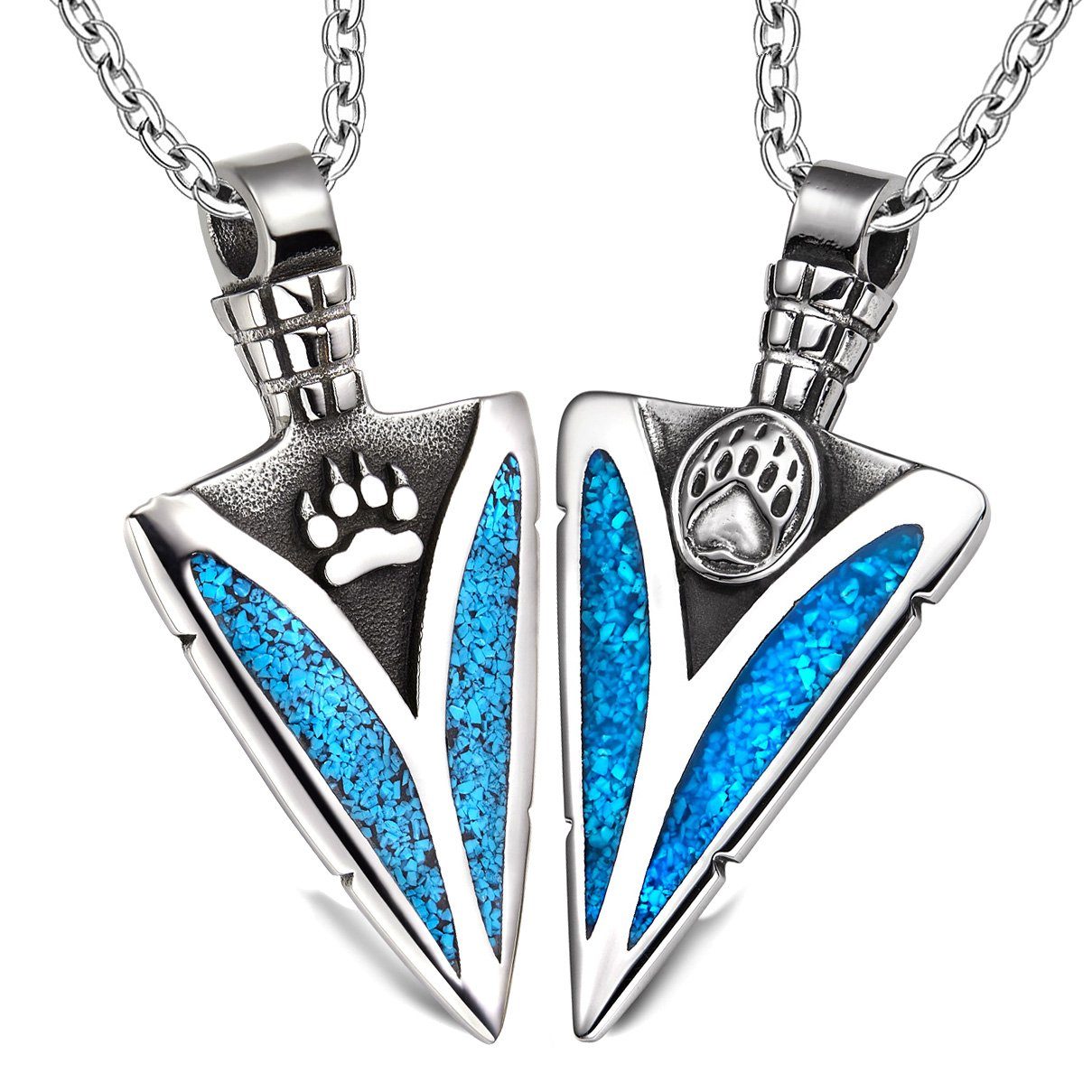 Arrowhead Wolf and Bear Paws Love Couples or BFF Set Protection Amulets Simulated Turquoise Necklaces