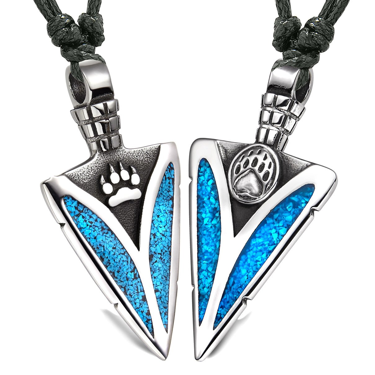 Arrowhead Wolf and Bear Paws Love Couples or BFF Set Amulets Simulated Turquoise Adjustable Necklaces