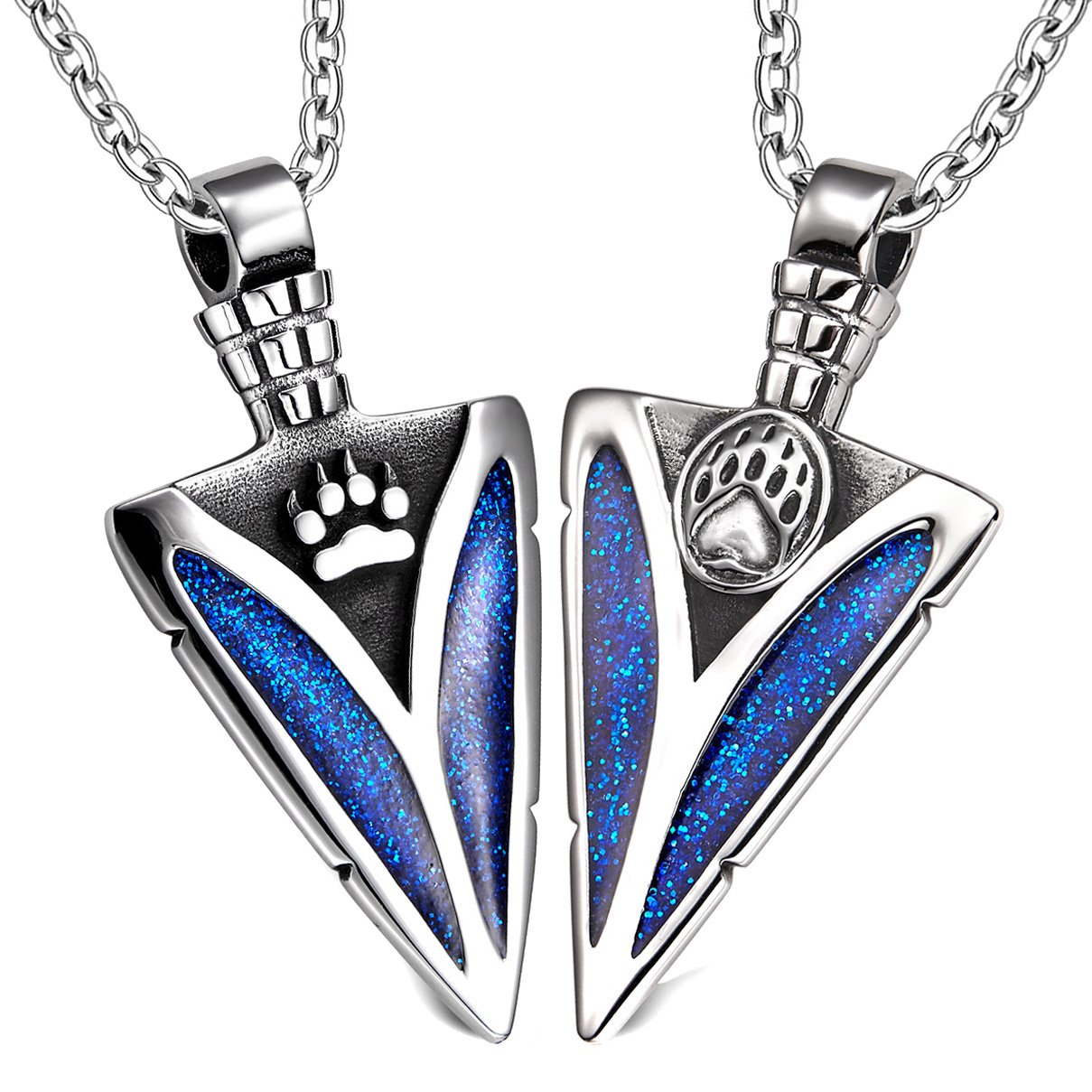 Arrowhead Wolf and Bear Paws Love Couples or BFF Set Protection Amulets Sparkling Royal Blue Necklaces