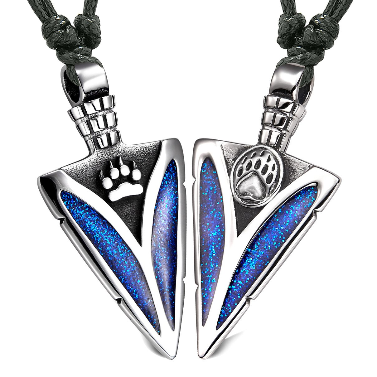 Arrowhead Wolf and Bear Paws Love Couples or BFF Set Amulets Sparkling Royal Blue Adjustable Necklaces