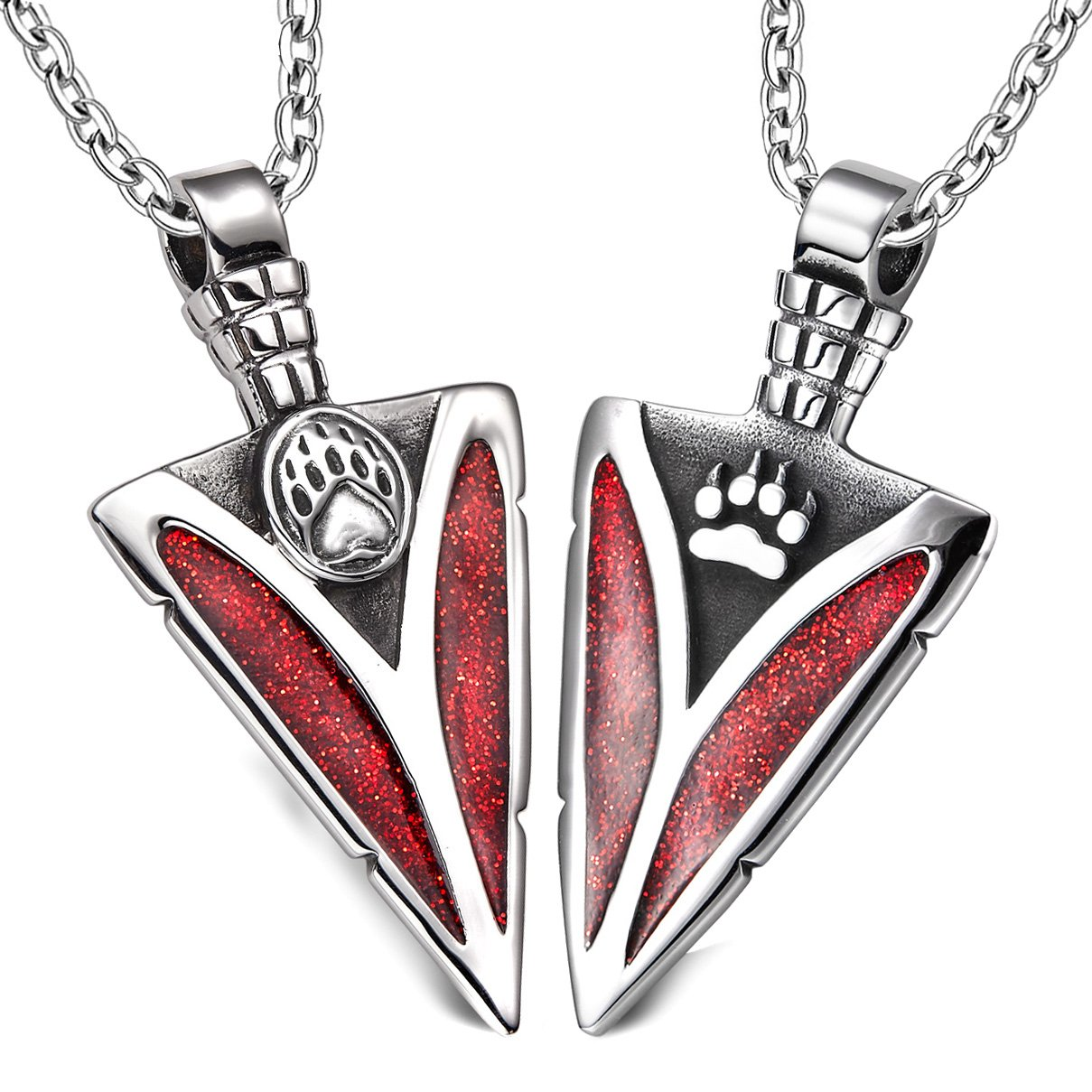 Arrowhead Wolf and Bear Paws Love Couples or BFF Set Protection Amulets Sparkling Royal Red Necklaces