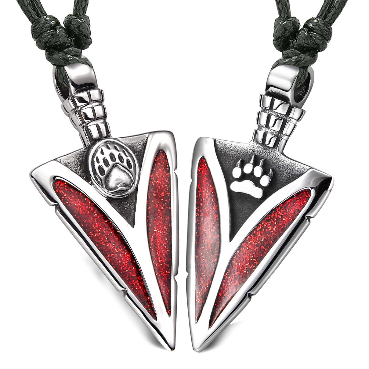 Arrowhead Wolf and Bear Paws Love Couples or BFF Set Amulets Sparkling Royal Red Adjustable Necklaces