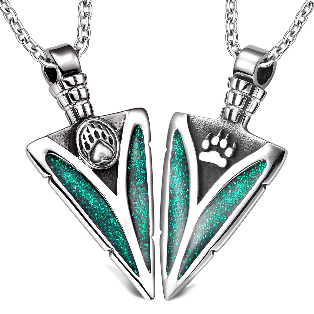 Arrowhead Wolf and Bear Paws Love Couples or BFF Set Protection Amulets Sparkling Royal Green Necklaces
