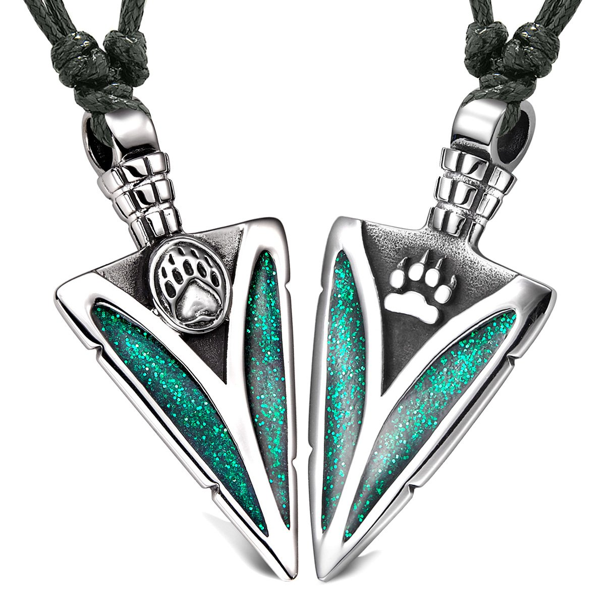 Arrowhead Wolf and Bear Paws Love Couples or BFF Set Amulets Sparkling Royal Green Adjustable Necklaces