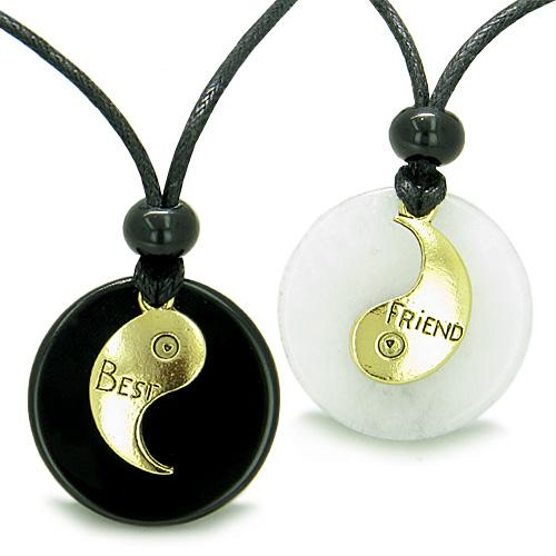 Double Lucky Best Friends Medallions Amulets Jade Onyx Positive Stones Friendship Pendant Necklaces