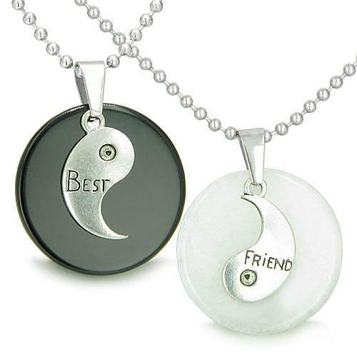 Double Lucky Best Friends Medallions Amulets Jade Black Onyx Gemstone Friendship Pendants Necklaces