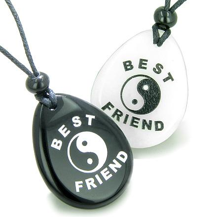 Lucky Best Friends Ying Yang White Jade and Black Onyx Wish Gemstones Friendship Necklaces
