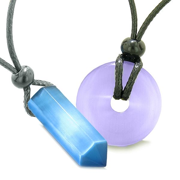 Yin Yang His Hers Love Couples Crystal Point Lucky Donut Sky Blue Purple Cats Eye Amulet Necklaces