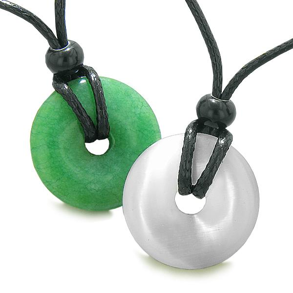 Yin Yang Energy Best Friends Love Couples Lucky Coin Donuts Green Quartz Cats Eye Amulet Necklaces