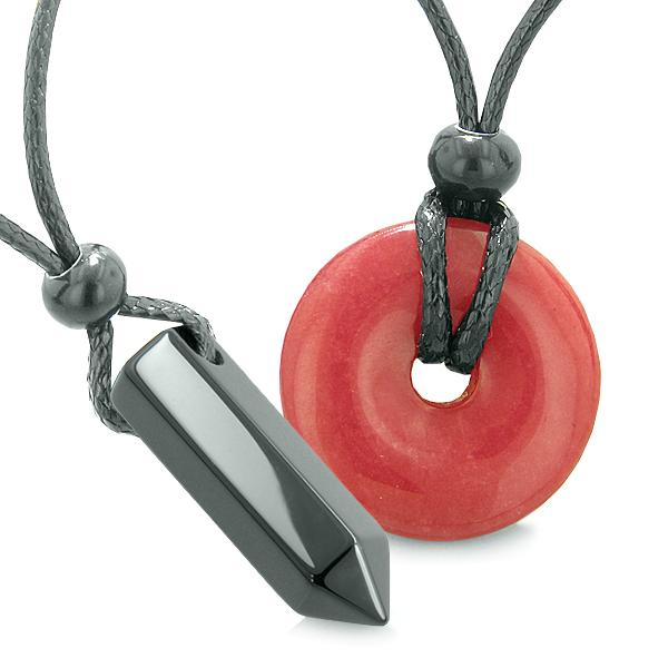 Yin Yang His Hers Love Couples Crystal Point Lucky Coin Donut Agate Red Quartz Amulet Necklaces