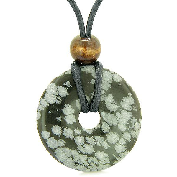 Amulet Magic Large Coin Shaped Donut Positive Snowflake Obsidian Healing Lucky Charm Necklace