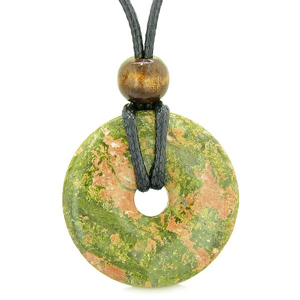 Amulet Magic Large Coin Shaped Donut Positive Powers Unakite Healing Lucky Charm Necklace