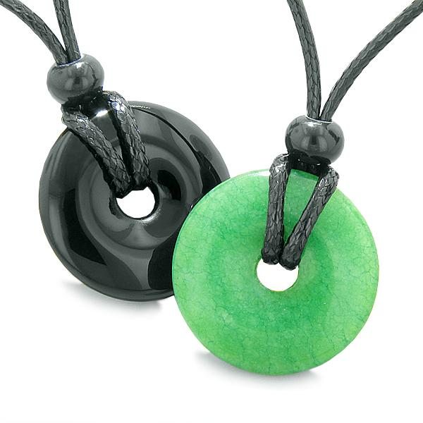 Yin Yang Energy Best Friends Love Couples Lucky Coin Donuts Agate Green Quartz Amulet Necklaces