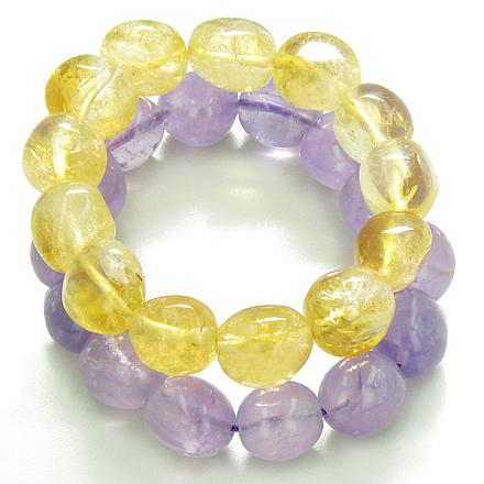 Amulet Double Lucky Set Amethyst Citrine Tumbled Crystals Money Protection Power Gemstone Bracelets
