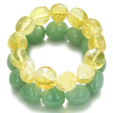 Amulet Double Lucky Set Aventurine Citrine Tumbled Crystals Money Business Attractor Powers Bracele