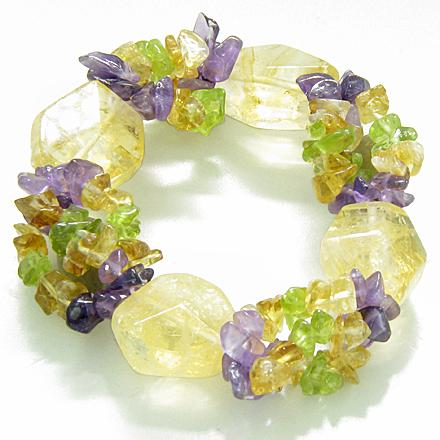 Amulet Healing Faceted Citrine Crystal with Peridot Citrine Amethyst Chips Powers Bracelet