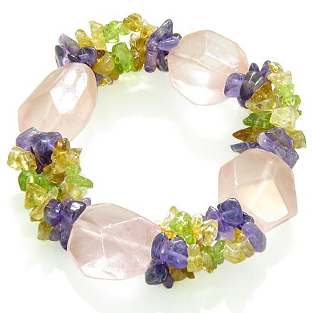 Amulet Faceted Rose Quartz Crystals Peridot Citrine Amethyst Chips Love Good Luck Powers Bracelet