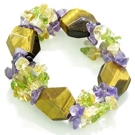 Amulet Faceted Tiger Eye Crystals with Peridot Citrine Amethyst Evil Eye Protection Powers Bracelet