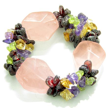 Amulet Healing Large Faceted Rose Quartz Garnet Peridot Citrine Amethyst Chips Powers Bracelet