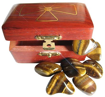Wish Box Treasure Chest With Tiger Eye Crystals