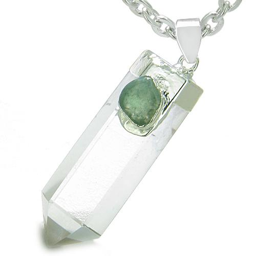 Double Lucky Individual Amulet Crystal Point Rock Quartz Green Aventurine Healing Pendant Necklace