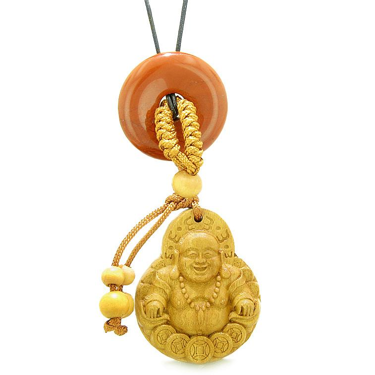 Magic Happy Buddha Car Charm or Home Decor Red Jasper Lucky Coin Donut Protection Powers Amulet