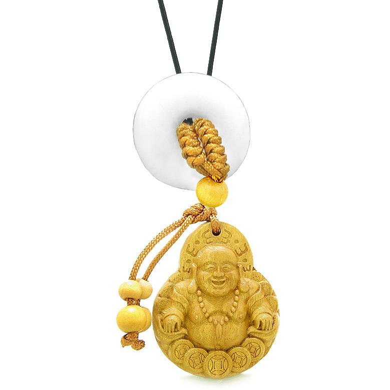 Magic Happy Buddha Car Charm or Home Decor White Quartz Lucky Coin Donut Protection Powers Amulet