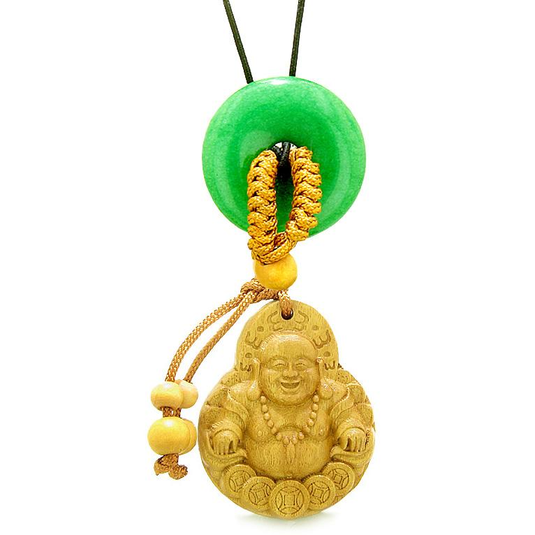 Magic Happy Buddha Car Charm or Home Decor Green Quartz Lucky Coin Donut Protection Powers Amulet