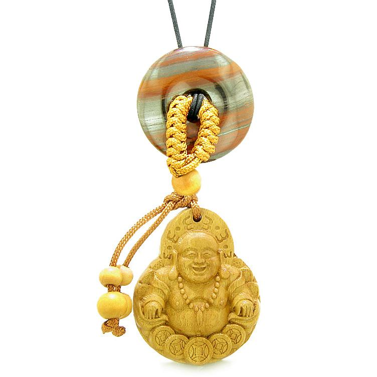 Magic Happy Buddha Car Charm Home Decor Dragon Eye Iron Lucky Coin Donut Protection Powers Amulet