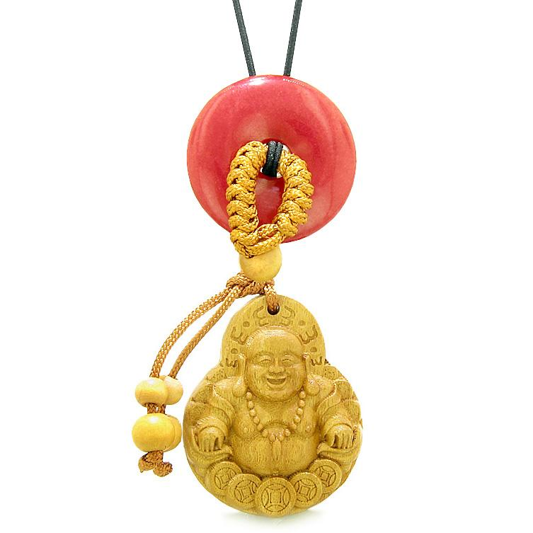 Magic Happy Buddha Car Charm Home Decor Cherry Red Quartz Lucky Coin Donut Protection Powers Amulet