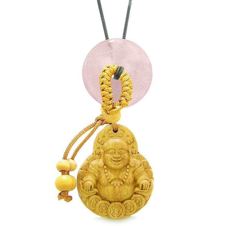 Magic Happy Buddha Car Charm or Home Decor Rose Quartz Lucky Coin Donut Protection Powers Amulet