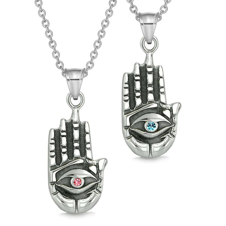 All Seeing Feeling Buddha Eye Love Couples Best Friend Amulets Pink Blue Pendant Necklaces