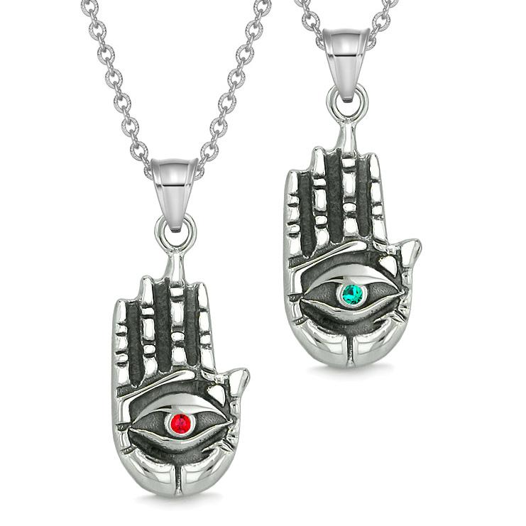 All Seeing Feeling Buddha Eye Love Couples Best Friend Amulets Green Red Pendant Necklaces