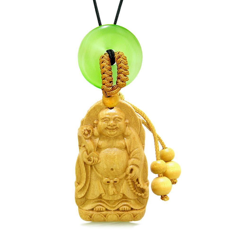 Laughing Buddha Blooming Lotus Car Charm Home Decor Green Simulated Cats Eye Donut Amulet