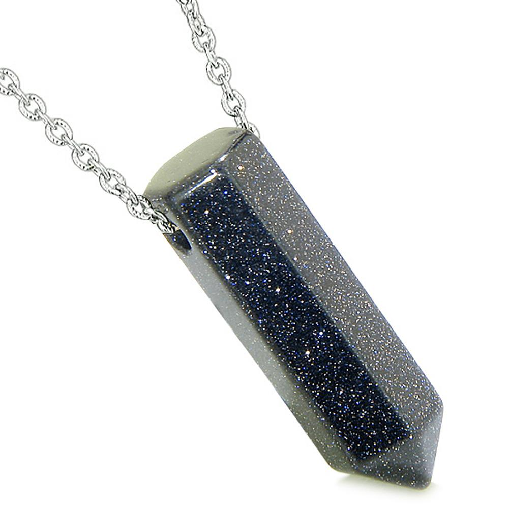 Amulet Lucky Crystal Point Wand Blue Goldstone Bullet Shape Pendant 18 Inch Necklace