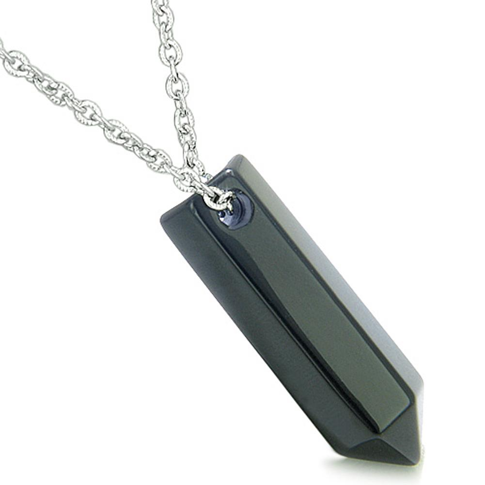 Amulet Lucky Crystal Point Wand Black Agate Gemstone Bullet Style Pendant 18 Inch Necklace