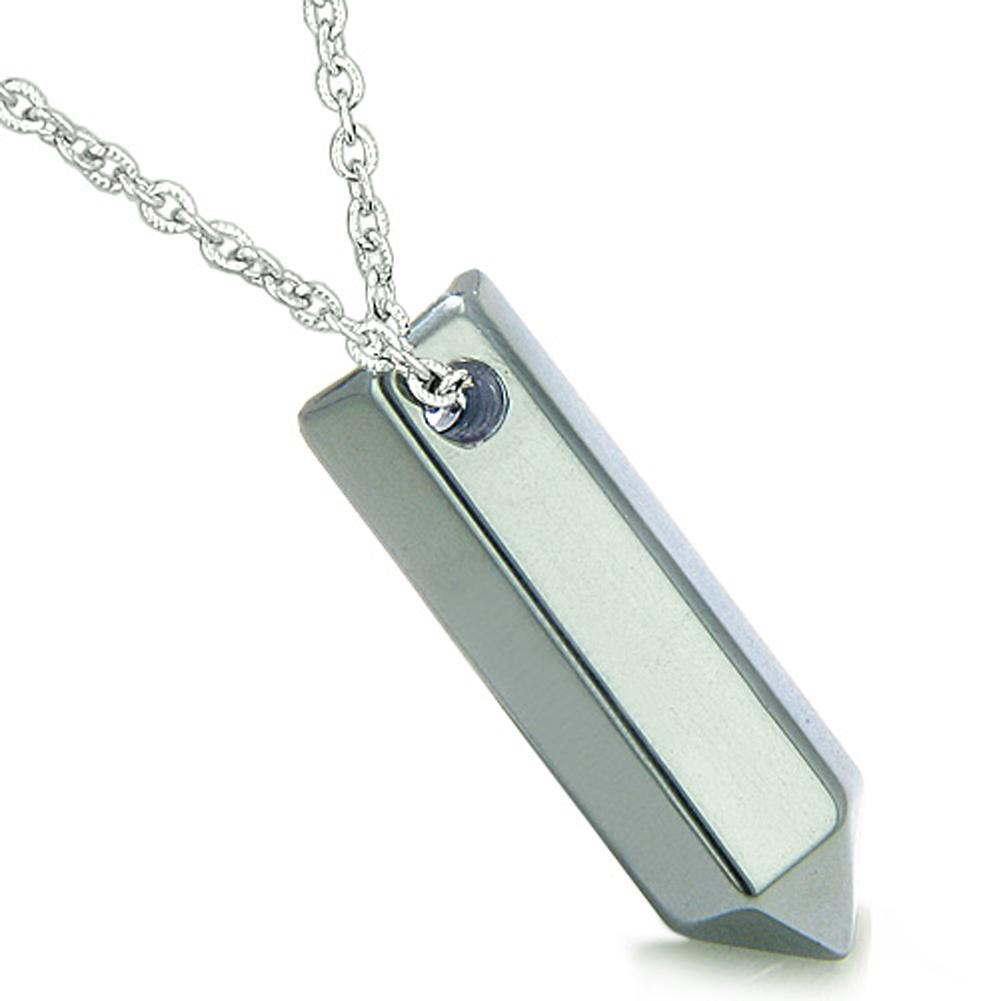 Amulet Lucky Crystal Point Wand Hematite Gemstone Bullet Style Pendant 18 Inch Necklace