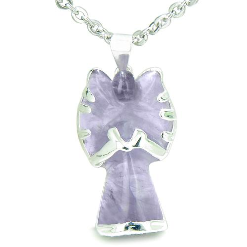 Brazilian Crystal Praying Angel Charm Amethyst Healing Powers Amulet Pendant Necklace