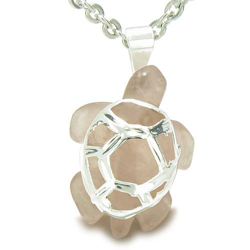 Brazilian Crystal Lucky Turtle Rose Quartz Love Powers Amulet Charm Pendant Necklace