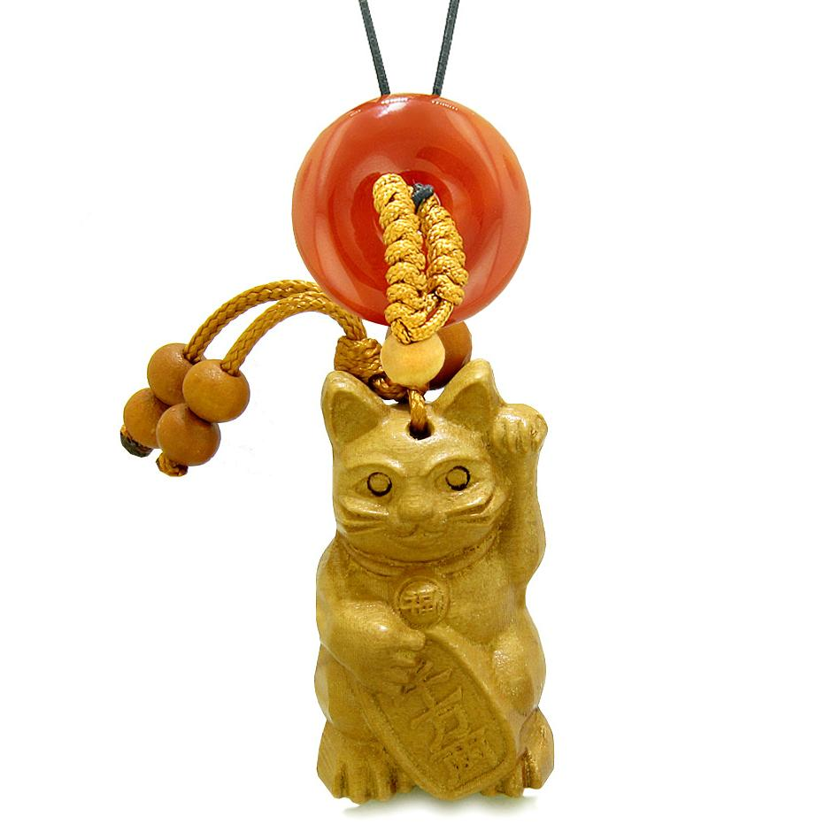 Maneki Neko Fortune Cat Car Charm or Home Decor Carnelian Lucky Coin Donut Protection Powers Amulet