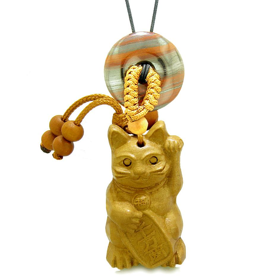 Maneki Neko Fortune Cat Car Charm or Home Decor Dragon Eye Iron Lucky Coin Donut Protection Powers Amulet
