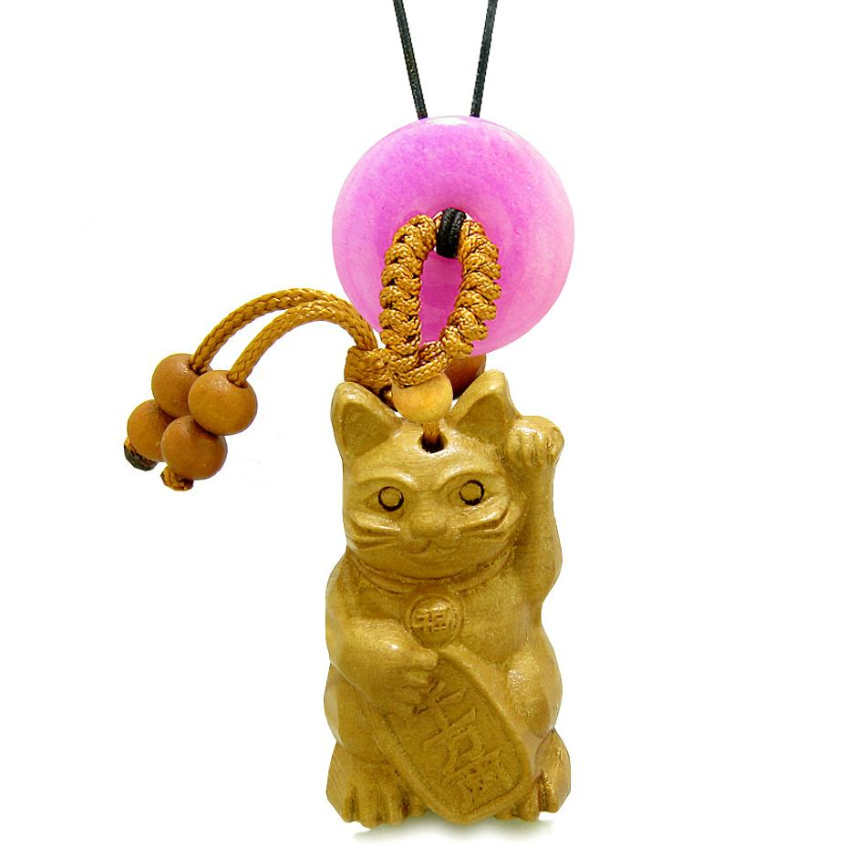 Maneki Neko Fortune Cat Car Charm or Home Decor Hot Pink Quartz Coin Donut Protection Powers Magic Amulet