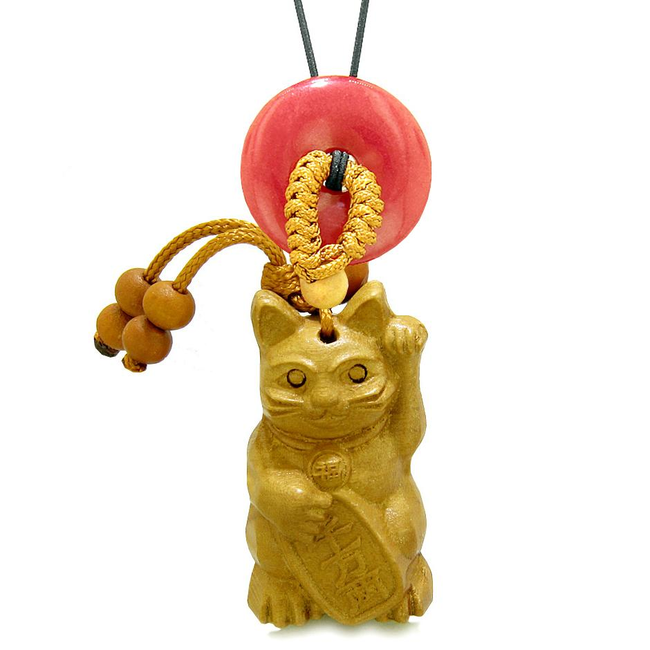 Maneki Neko Fortune Cat Car Charm or Home Decor Red Quartz Coin Donut Protection Powers Magic Amulet