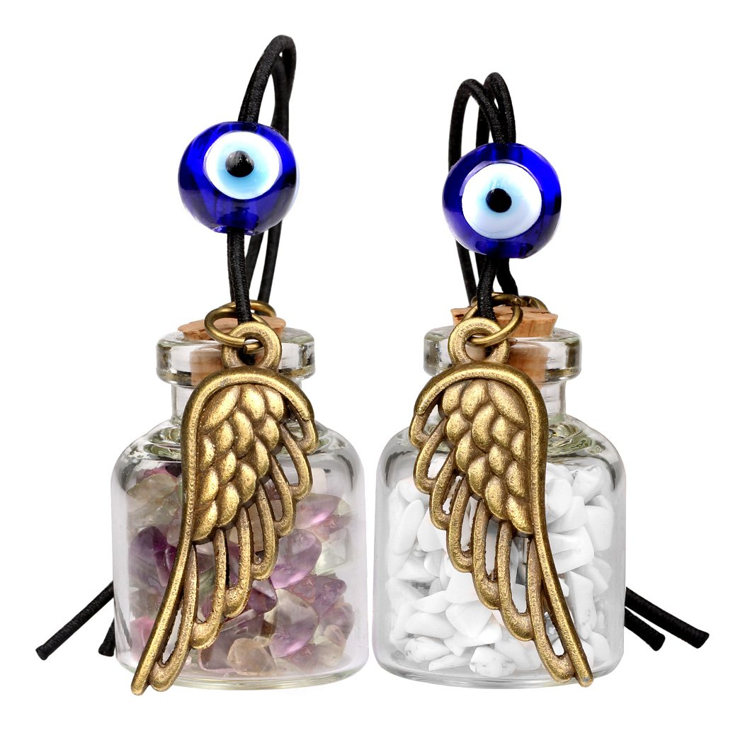 Angel Magic Wings Small Car Charms Home Decor Gem Bottles Fluorite White Howlite Protection Amulets