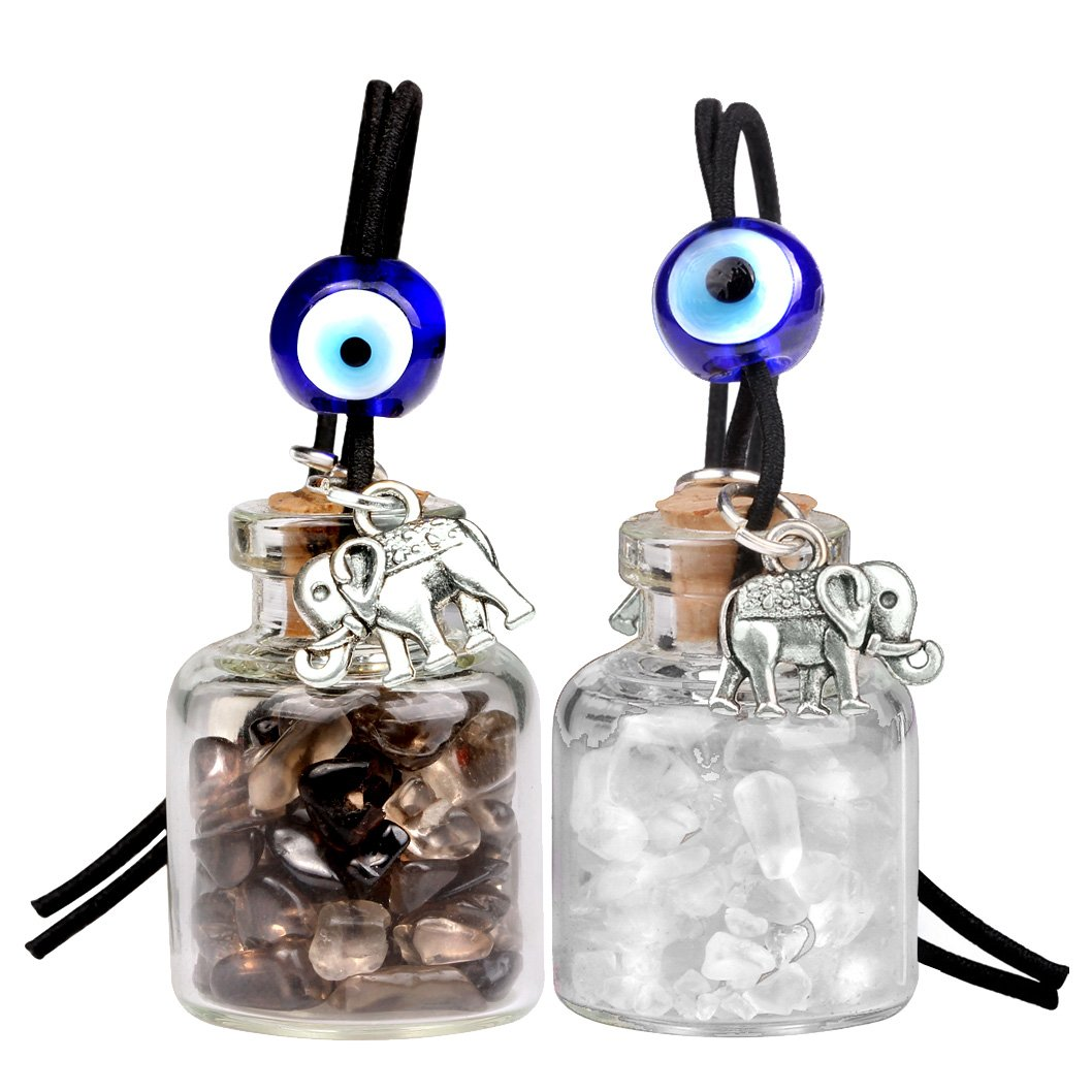 Lucky Elephants Magic Small Car Charms Home Decor Bottles Crystal Smoky Quartz Protection Amulets