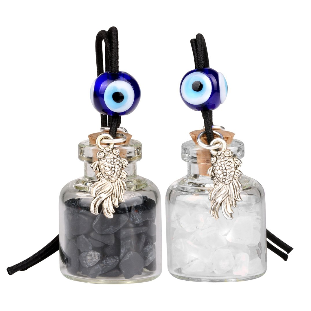 Fortune Fish Small Car Charms Home Decor Gem Bottles Crystal Quartz Obsidian Protection Amulets