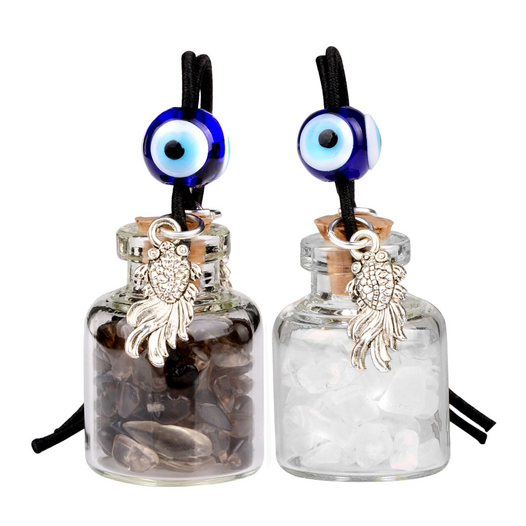 Fortune Fish Small Car Charms or Home Decor Gem Bottles Crystal and Smoky Quartz Protection Amulets
