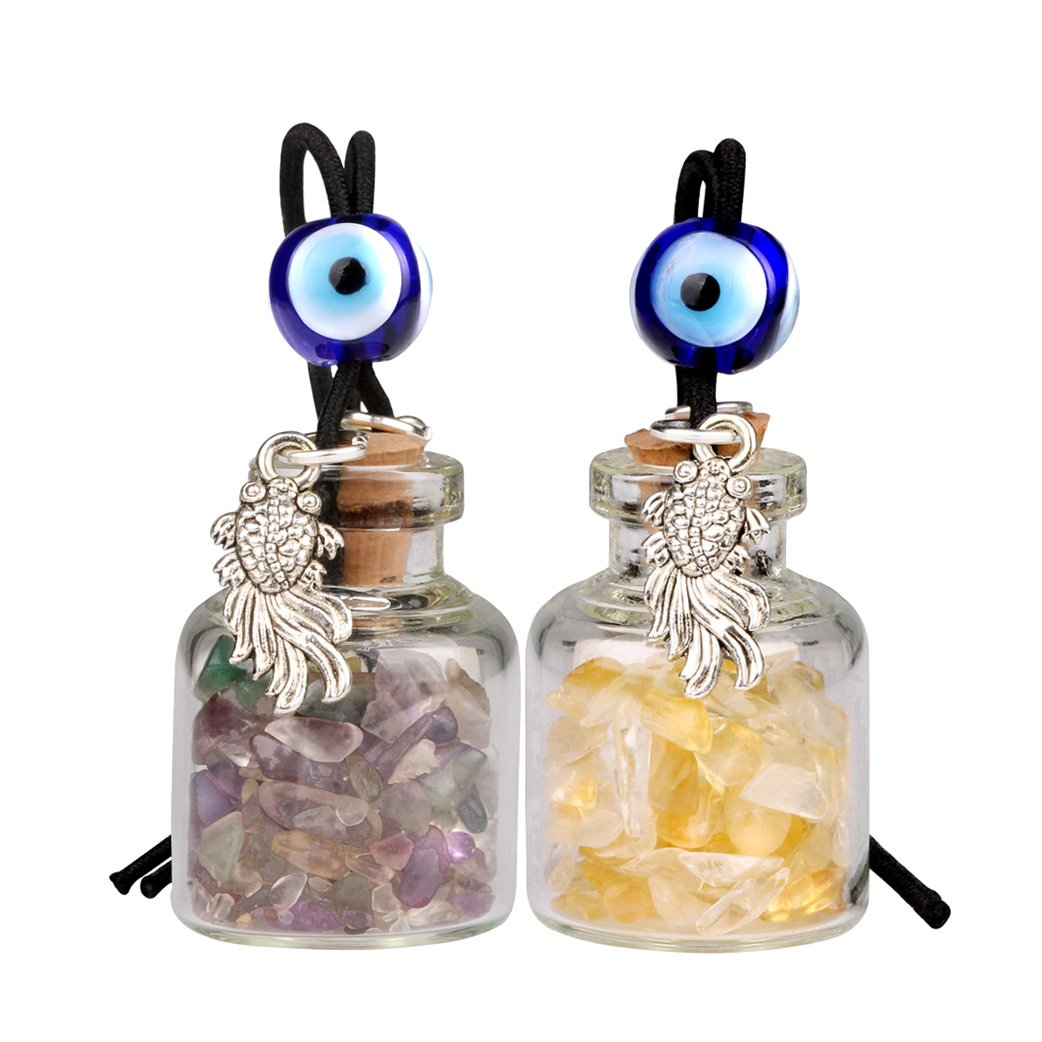 Fortune Fish Small Car Charms or Home Decor Gem Bottles Fluorite and Citrine Protection Amulets
